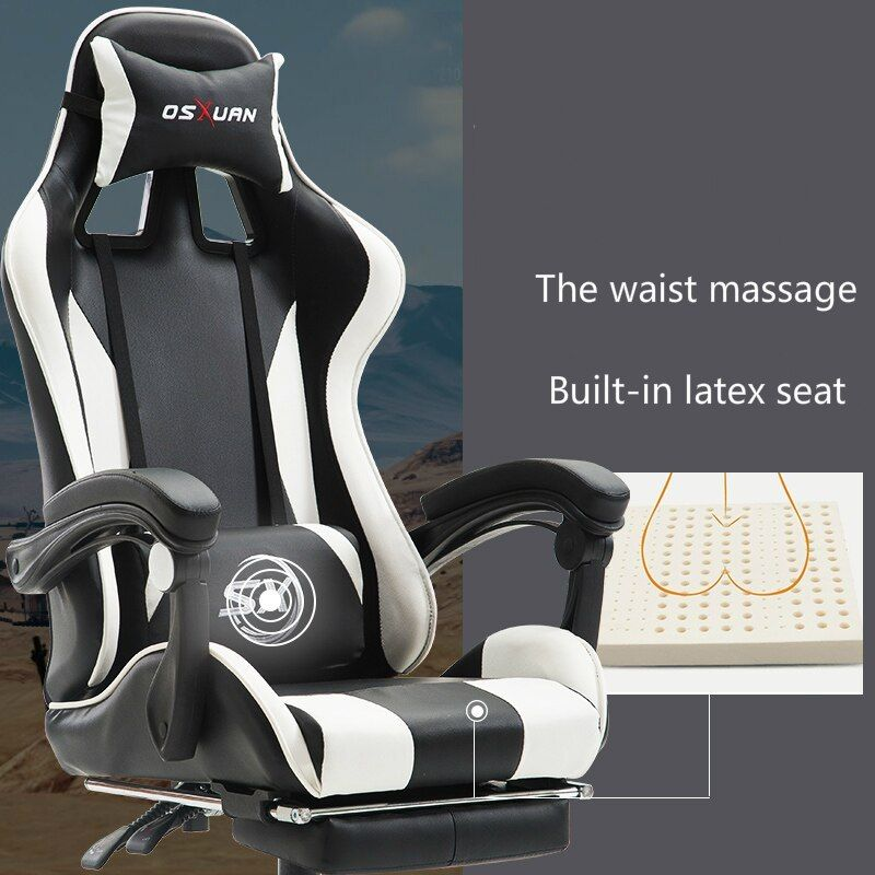 Multi Function Computer Chair Lifted Rotated Office Boss Chair Reclining E Sports Gaming Stool With Footrest And Massage C Chair Lift Computer Chair Boss Chair