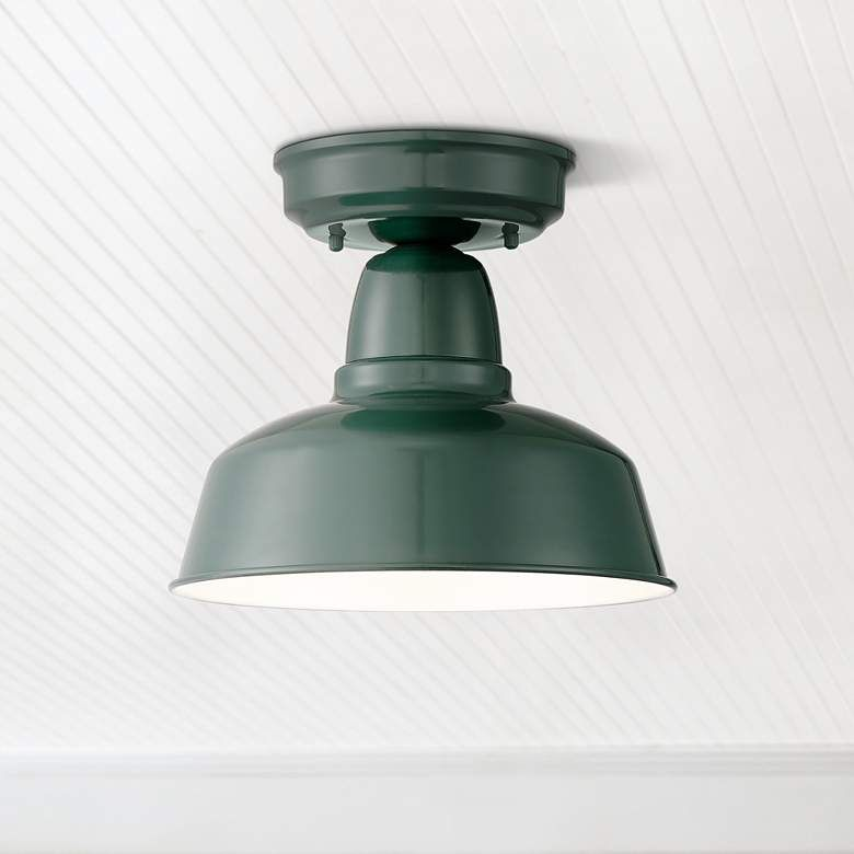 Urban Barn 10 1 4 Wide Green Outdoor Ceiling Light 13f85 Lamps Plus In 2020 Outdoor Ceiling Lights Metal Ceiling Lighting Ceiling Lights