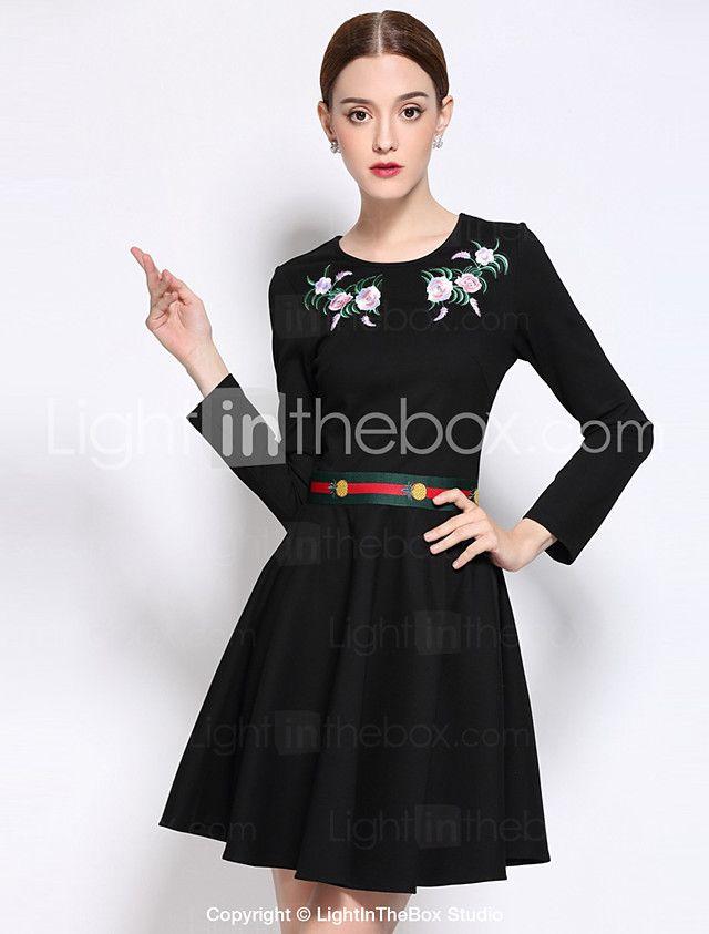 32983873b5eea Kadın Günlük/Sade Sade A Şekilli Elbise Nakışlı,Uzun Kollu Yuvarlak Yaka  Diz üstü