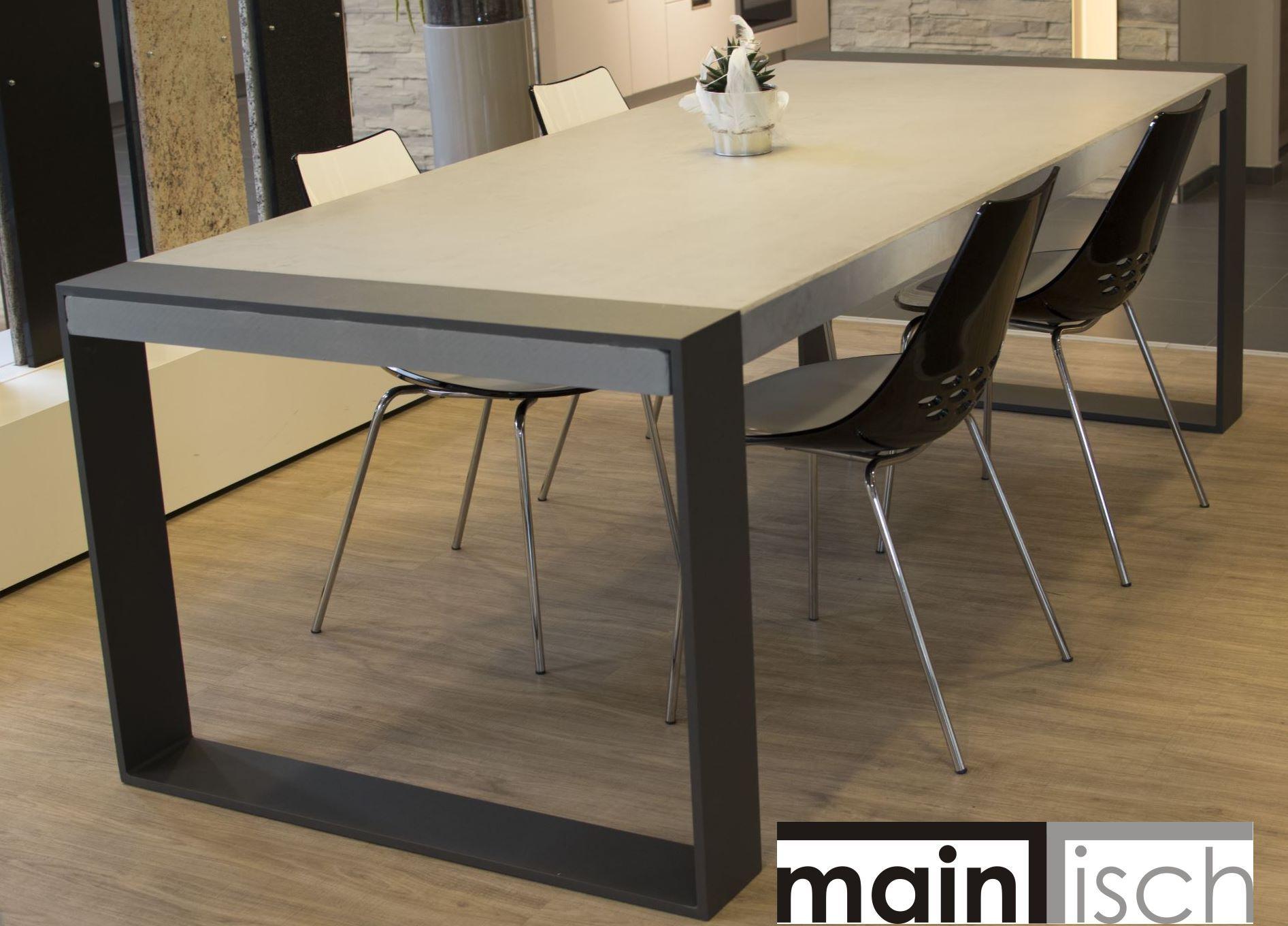 betontisch tisch aus beton esstisch schreibtisch massiver tisch aus stahl und be. Black Bedroom Furniture Sets. Home Design Ideas