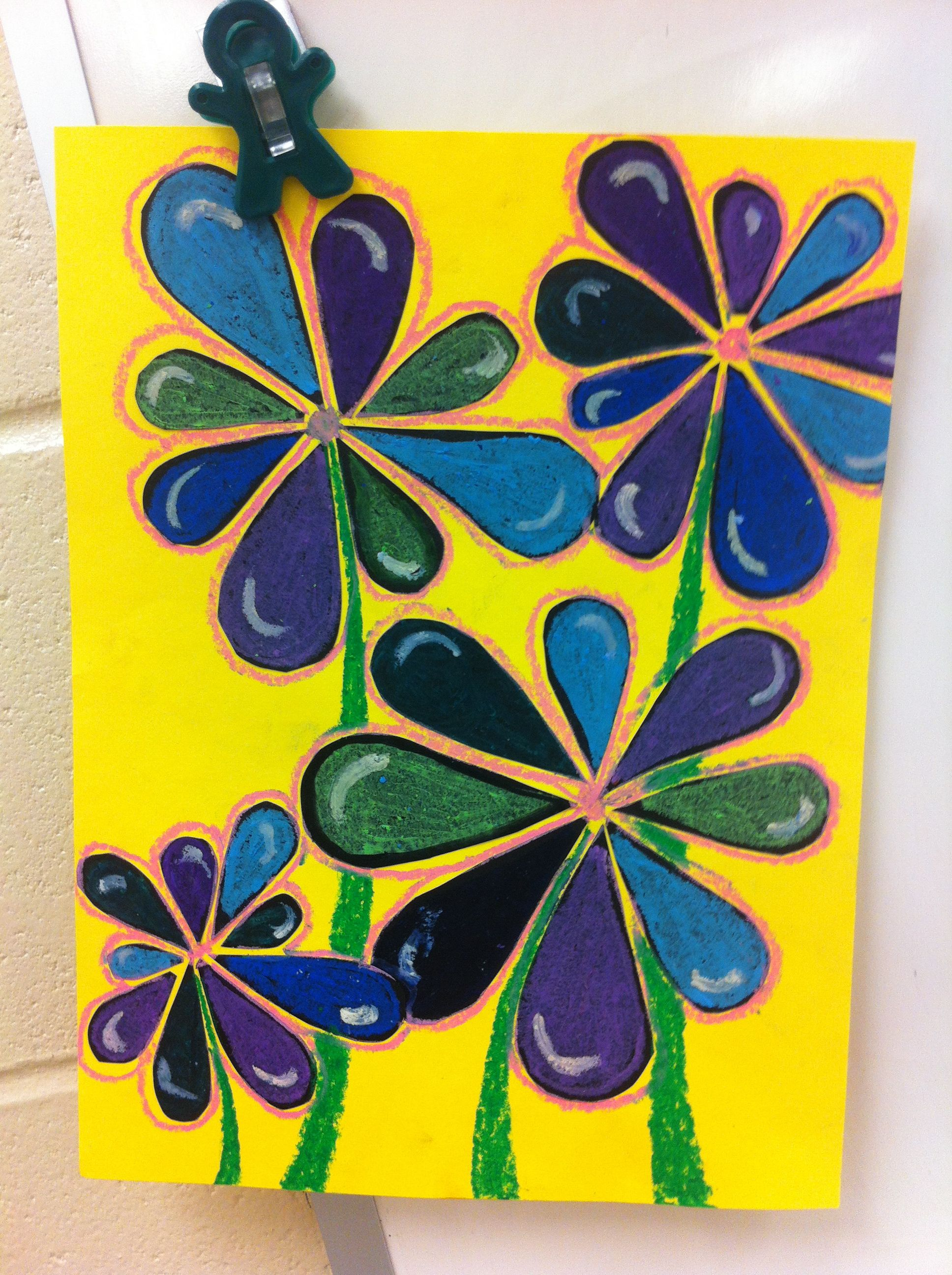 April Showers Bring May Flowers 1st Grade Had Students Make A Raindrop Pattern On The First