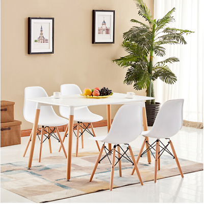 Rectangle Dining Table And 4 6 White Eiffel Dsw Retro Design Wood