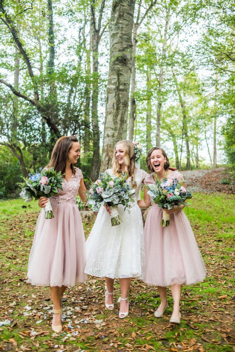 Dusty Rose Midi Bridesmaid Dresses Bridesmaid Natural Photo Idea