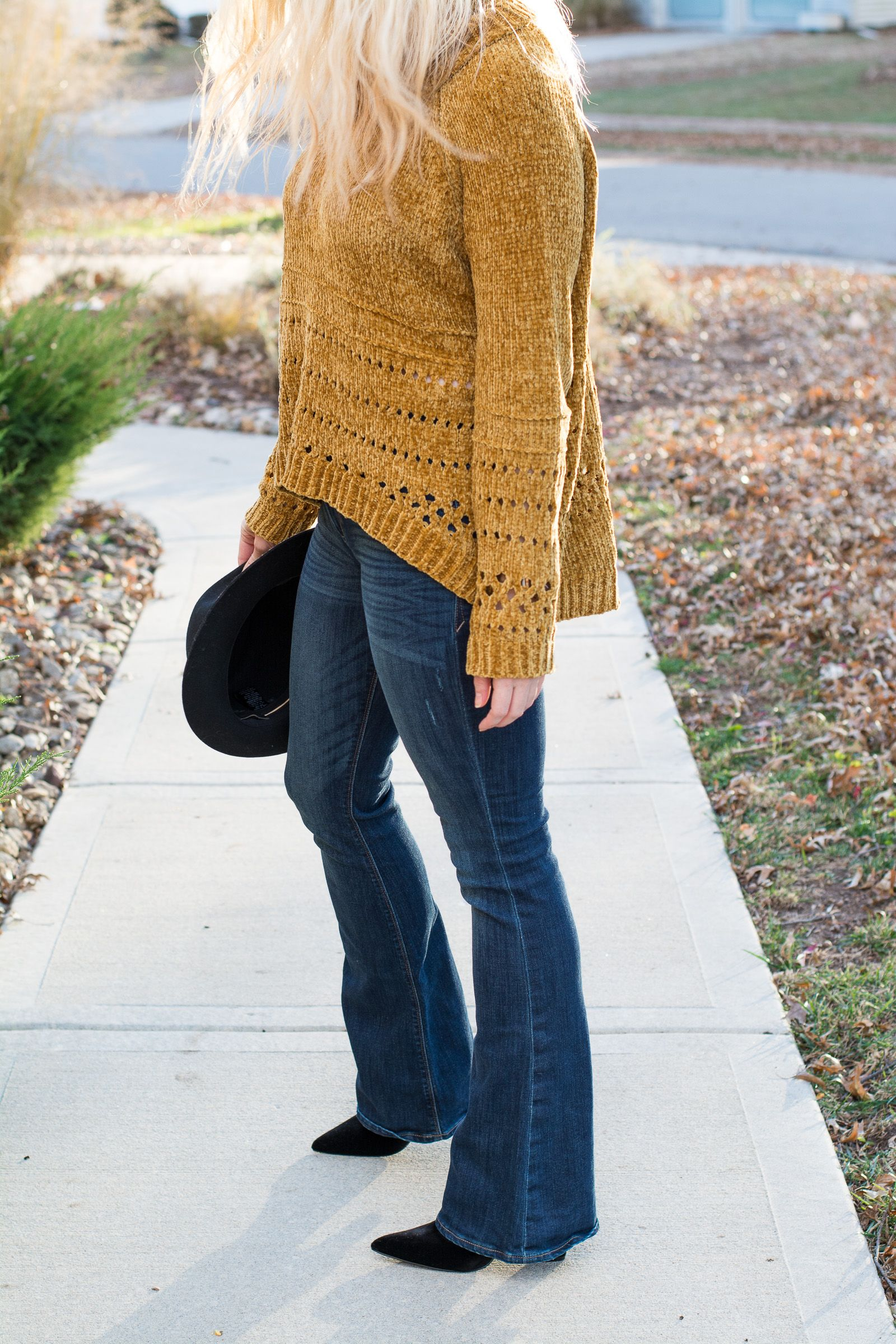 553285aeeb Fall Outfit  Mustard Chenille Sweater + Flares.