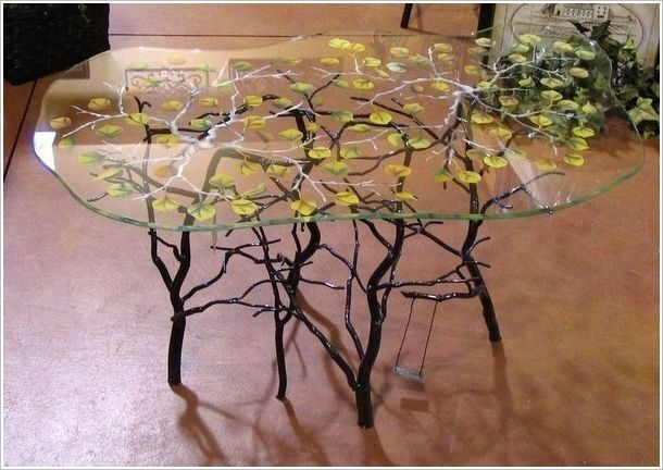 Perfect Paint Leaves Over A Glass Top Branch Table Weird Furniture, Twig Furniture,  Unique Furniture