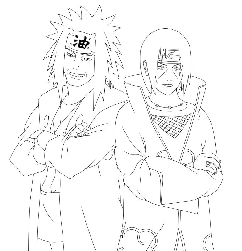 Smiling Itachi Jiraiya Lineart By Ryouto On Deviantart Itachi Uchiha Art Stitch Coloring Pages Naruto Fan Art