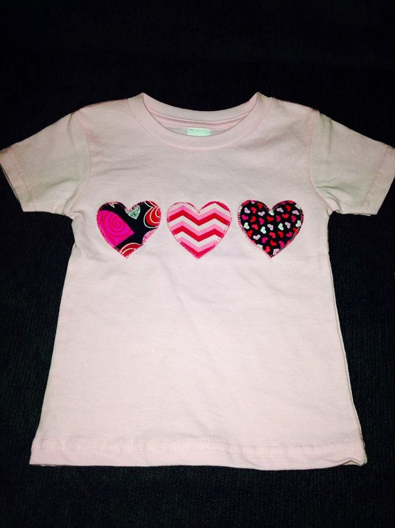 Triple Heart Valentine Fabric Applique shirt by SouthernGraceGift