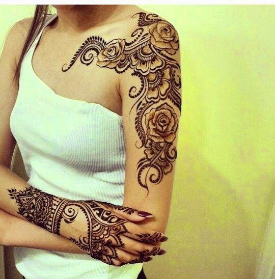 Henna Tattoo Vs A Permanent Tattoo Henna Tattoo Designs Henna Shoulder Henna