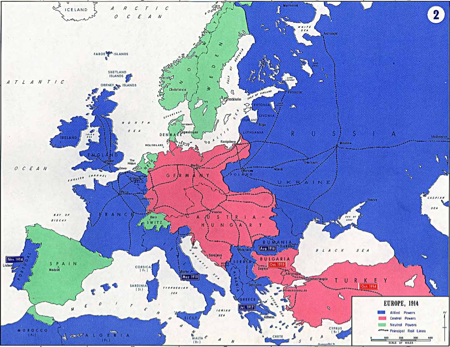 A Map Of Europe In 1914.Europe 1914 Rail Lines Powers Maps Historic Timelines