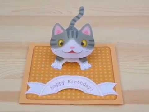 Tutorial Pop Up Kitten Birthday Card Pop Up Card Templates Pop Up Cards Pop Up Flower Cards