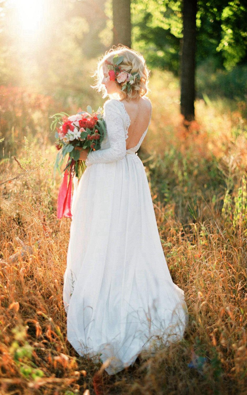 Open back lace wedding dresses  Romantic Chiffon Long ALine Wedding Dress With Lace Bodice