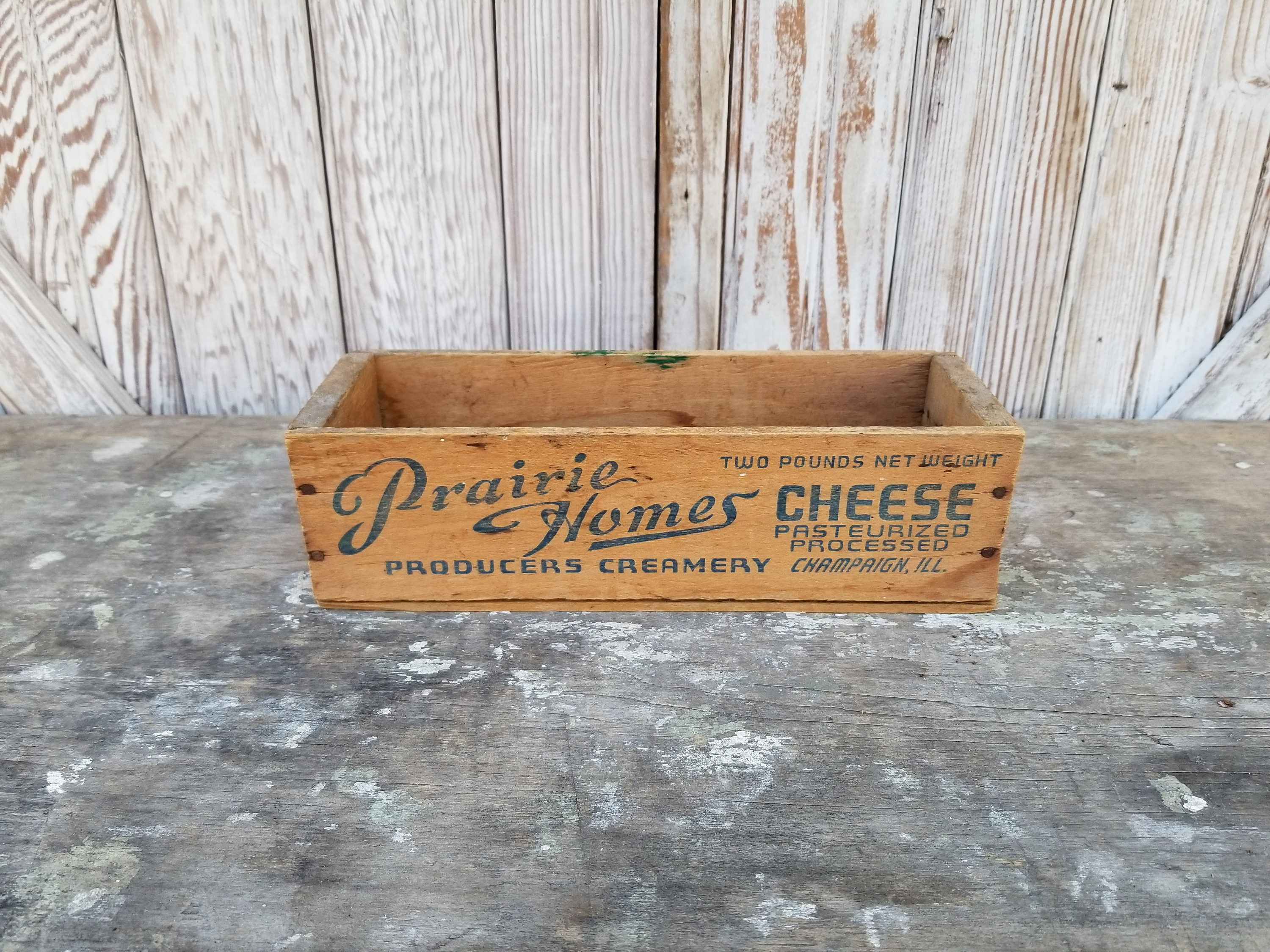 Vintage Cheese Box ~ Prairie Holmes Creamery Champaign IL ~ Rustic Décor ~  Farmhouse ~ Wood