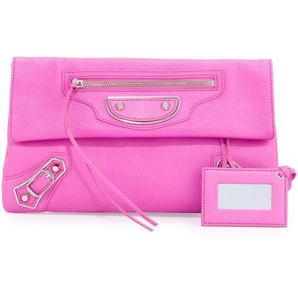 balenciaga pink clutch