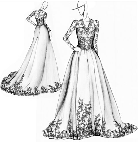 Wedding Dress Sketch Black And White Design Lace