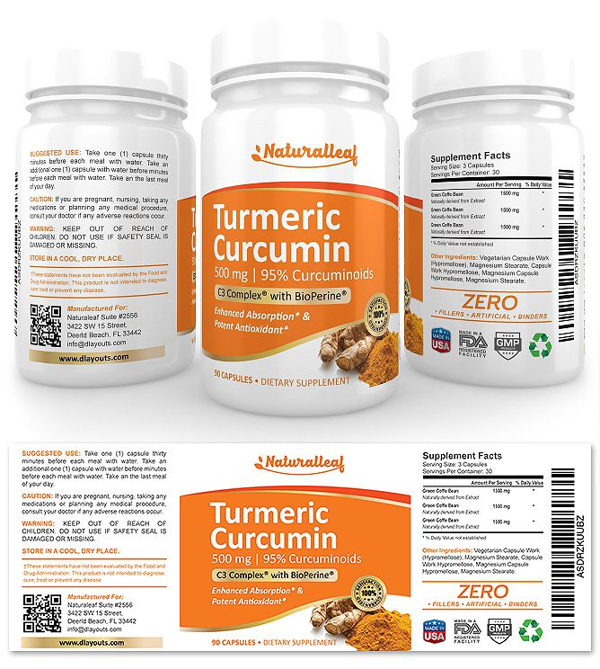 Turmeric Curcumin Supplement Label Template Http://Www.Dlayouts