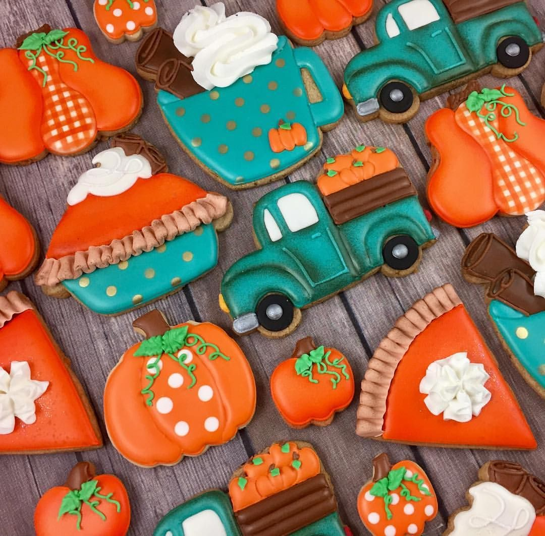 Turquoise & Orange Pumpkin Pie, Trucks, Pumpkins And Latte