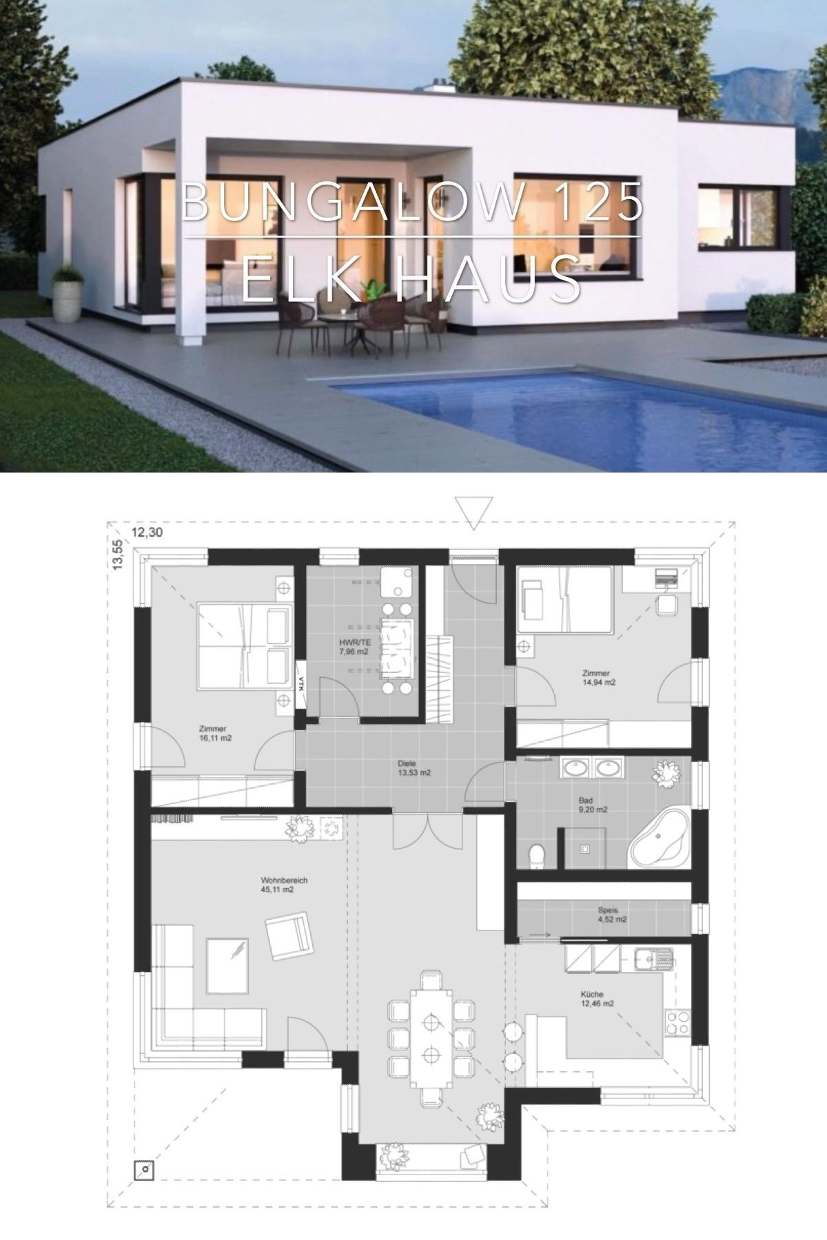 Modern Flat Roof House Drawing