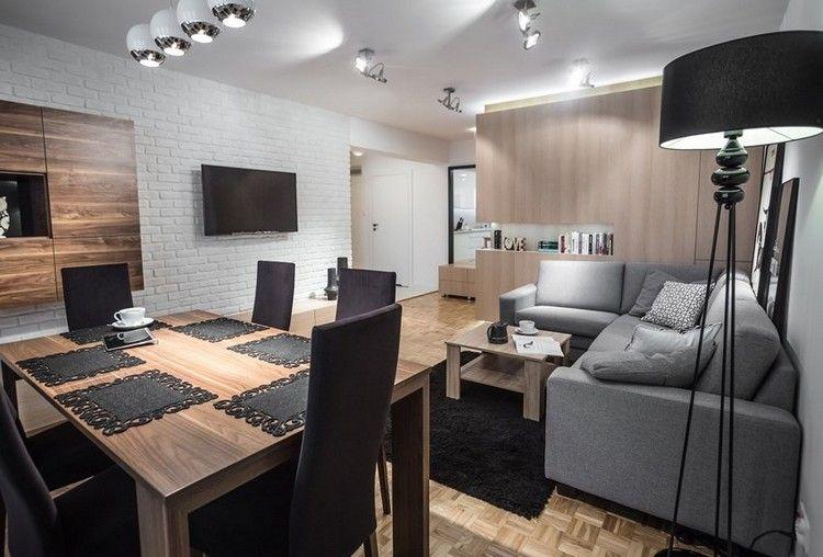 Wunderbar Modernes Wohnzimmer Sofa Grau Parkettboden Holzmoebel Weisse Ziegelwand