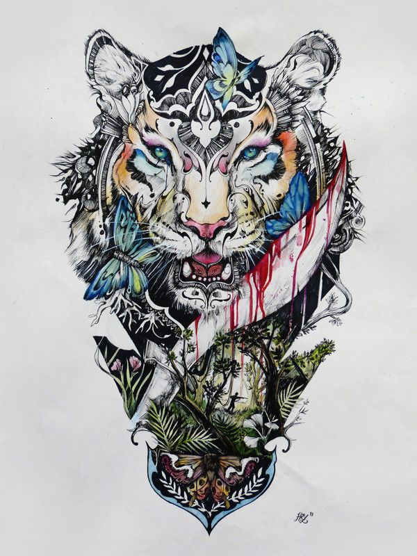 Stop Killing Beauty by Haris Rashid, via Behance. Watercolor, pens and markers