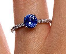 18k White Gold Sapphire Petite Shared Prong Diamond Ring White Gold Diamond Rings White Gold Sapphire Diamond Ring