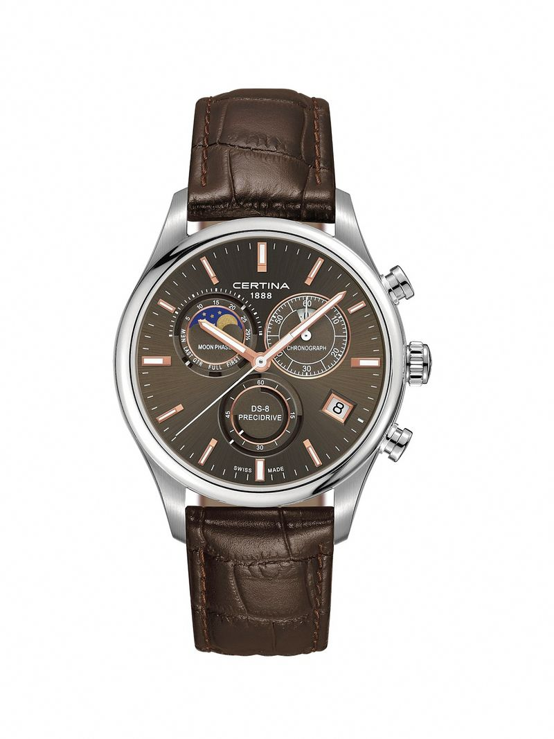 Certina ds 8 chrono moon phase date brown leather watch