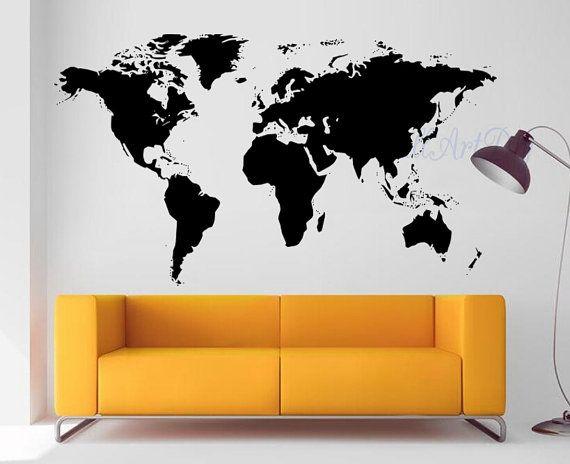 Vinyl World Map Wall Decal White World Map Wall By Wallartdiy