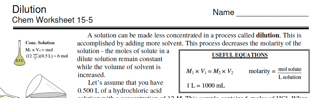 chemistry 11 dilution worksheet pdf
