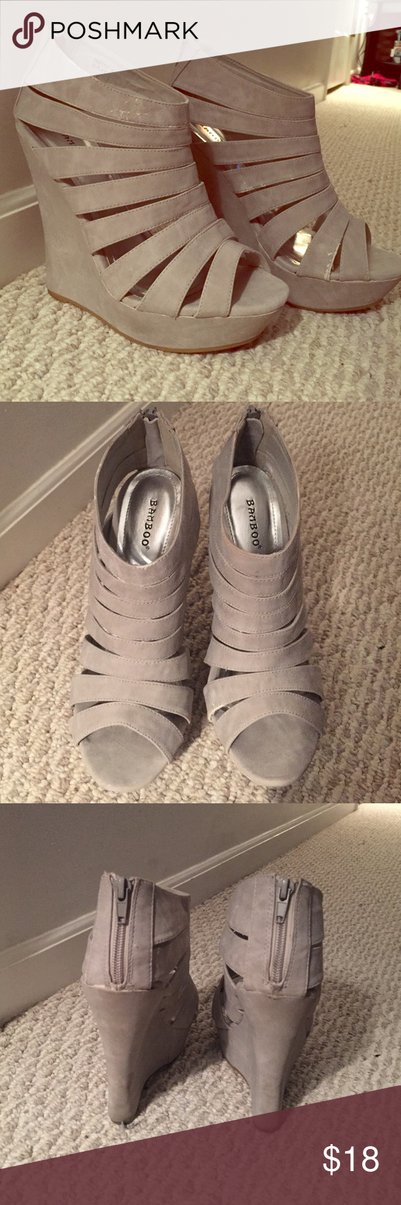 Light grey / taupe high wedge platform sandals Worn a handful of times still in good condition and coming from a smoke free home! Super cute tall wedges, zip up the back of the heel. A couple scuff marks on the inside of the shoes, nothing major. Bamboo Shoes Wedges