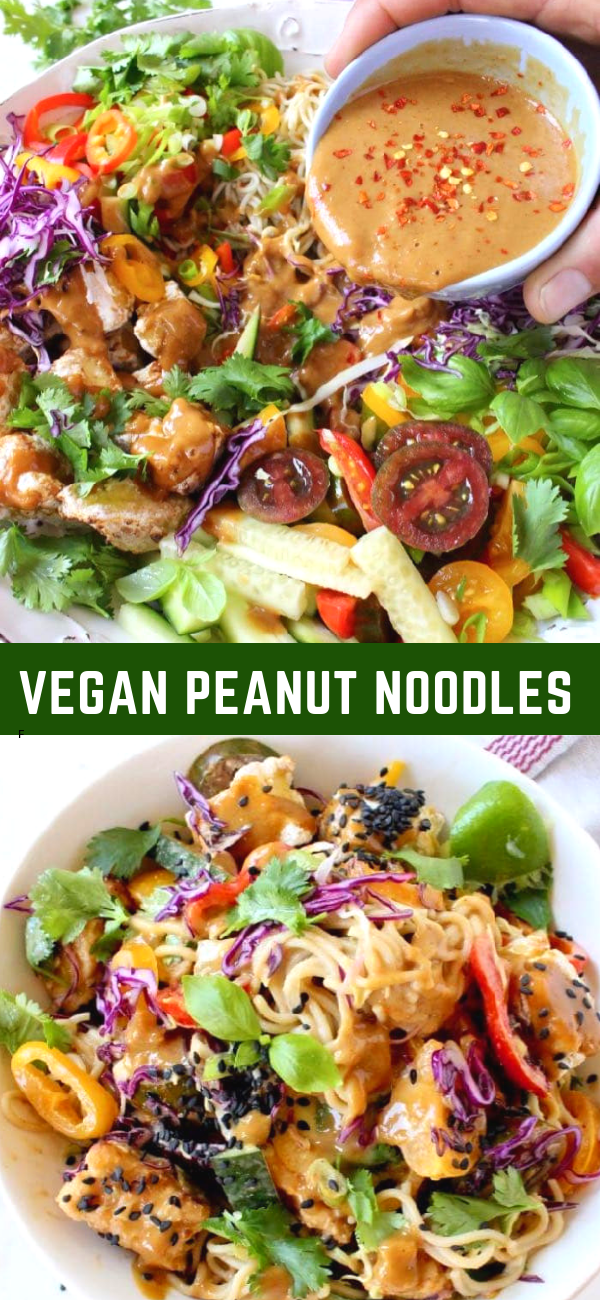 An easy vegan peanut noodles recipe with vegetables, ramen, air fried tofu and sesame seeds. Loaded with flavor from lime, cilantro and fresh basil, crunchy texture from cucumbers and bell peppers lusciously coated in a garlicky peanut sauce.