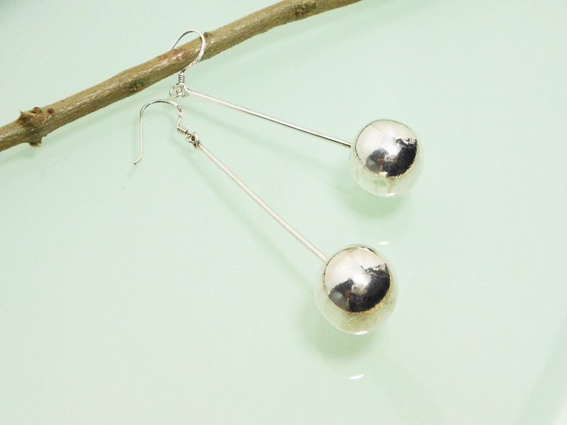 176b7e336 Handmade 925 Sterling Silver Single Bar Drop Earring With Big Ball End  French Wire Ear,End Ball Bar Drop Earring,Long Bar Dangle Earring by  Supsilver on ...