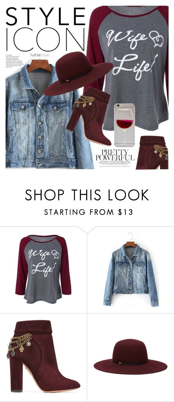 """""""Wine red"""" by vanjazivadinovic ❤ liked on Polyvore featuring Aquazzura, Ted Baker, polyvoreeditorial and twinkledeals"""