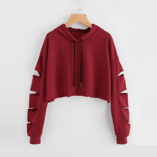 Fashion Cropped Hoodie Woman Clothes Tops and Blouses Solid High Neck Drawstring Crop Sweatshirts Moletom Feminino,Red,L,China