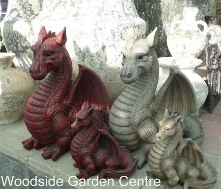 Resin Extra Large Red Dragon Garden Ornament Mystical Woodside