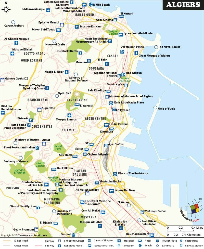 Algiers Map Algiers, Map, Beautiful places to visit