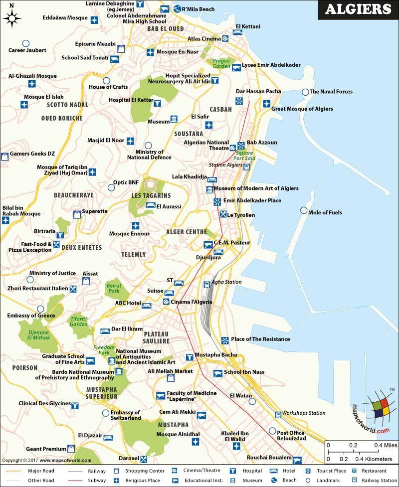 Algiers Map Algiers, Map, Beautiful places to visit
