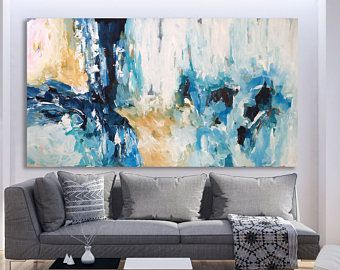 Original Large Abstract Painting Acrylic Painting on Canvas. Extra Large Painting - Wall Art Modern Texture Yellow Blue White Grey & Original Large Abstract Painting Acrylic Painting on Canvas. Extra ...