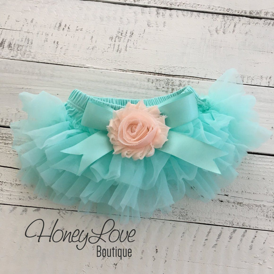 Mint/Aqua and Peach Embellished tutu skirt bloomers and
