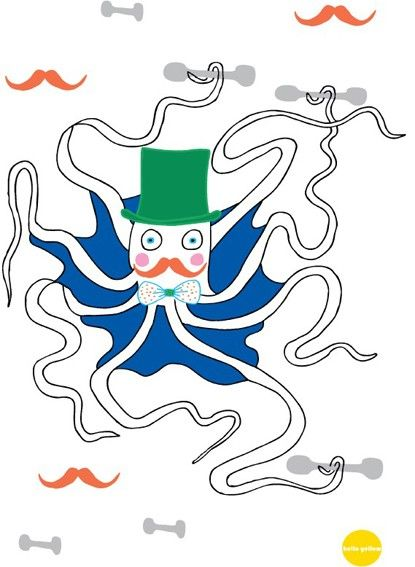 Hello Yellow Octopus The Strongman A4 Digital Print available at www.childrensdept.com.au
