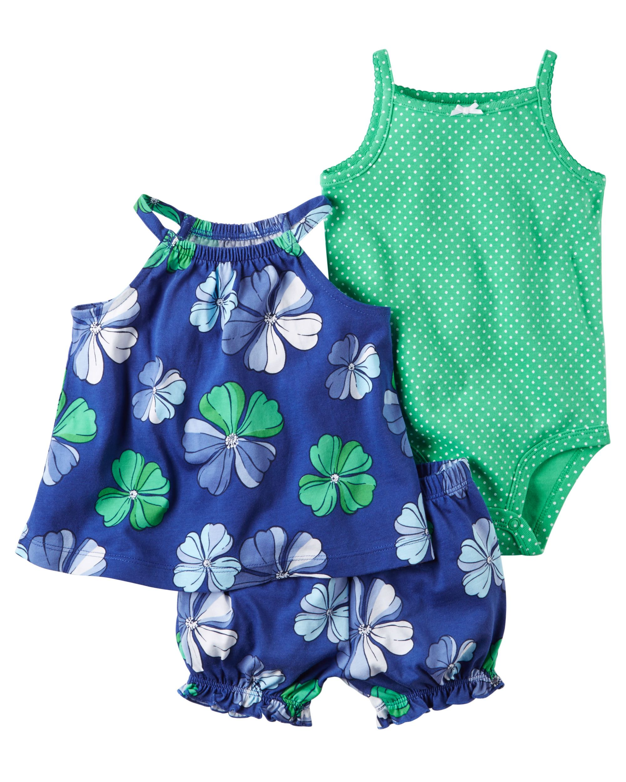 f57ab62c3182 Baby Girl 3-Piece Bubble Short Set Complete with a breezy top