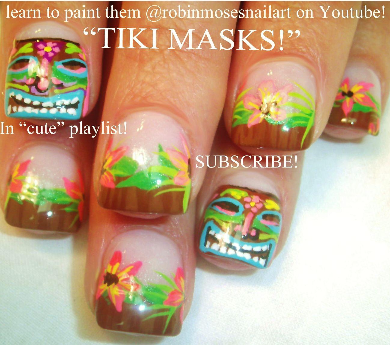 Hawaiian nail design google search nails pinterest tiki nail art w hawaii hibiscus flowers by robin moses prinsesfo Gallery