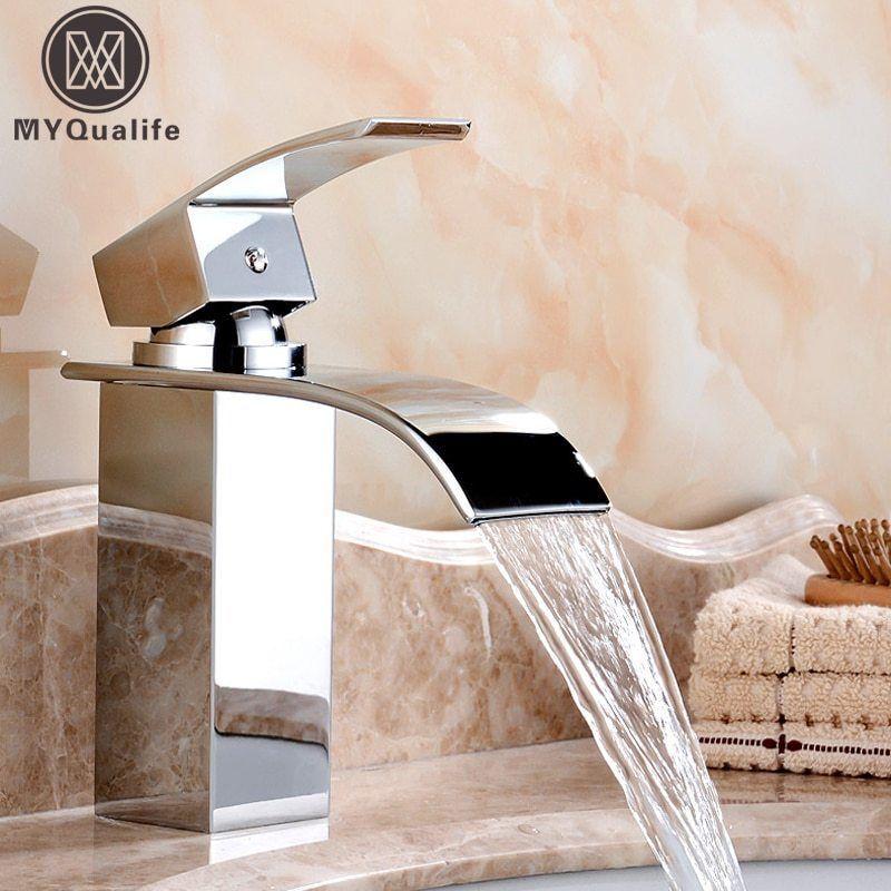 Deck Mount Waterfall Bathroom Faucet Vanity Vessel Sinks Brass