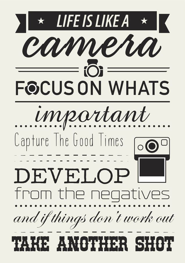 'Life Is Like A Camera' Quote Poster Camera quotes