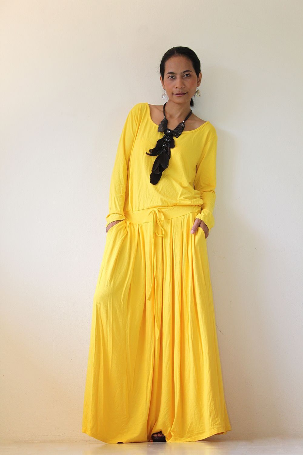 Yellow maxi dress long sleeve dress hijab pinterest yellow