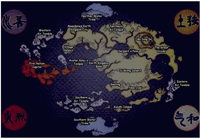 map of the world in avatar the last airbender labeled - Google ...