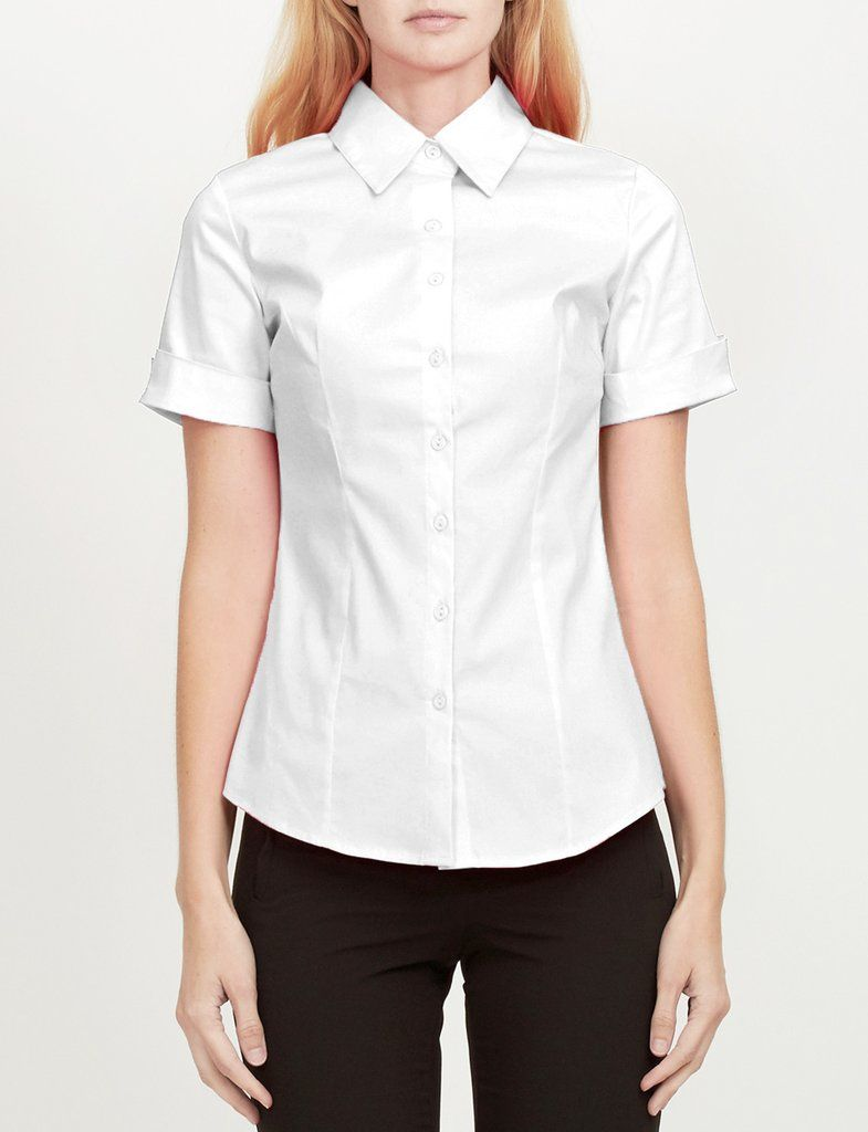 305bb7767ca87 LE3NO Womens Short Sleeve Button Down Shirt with Stretch