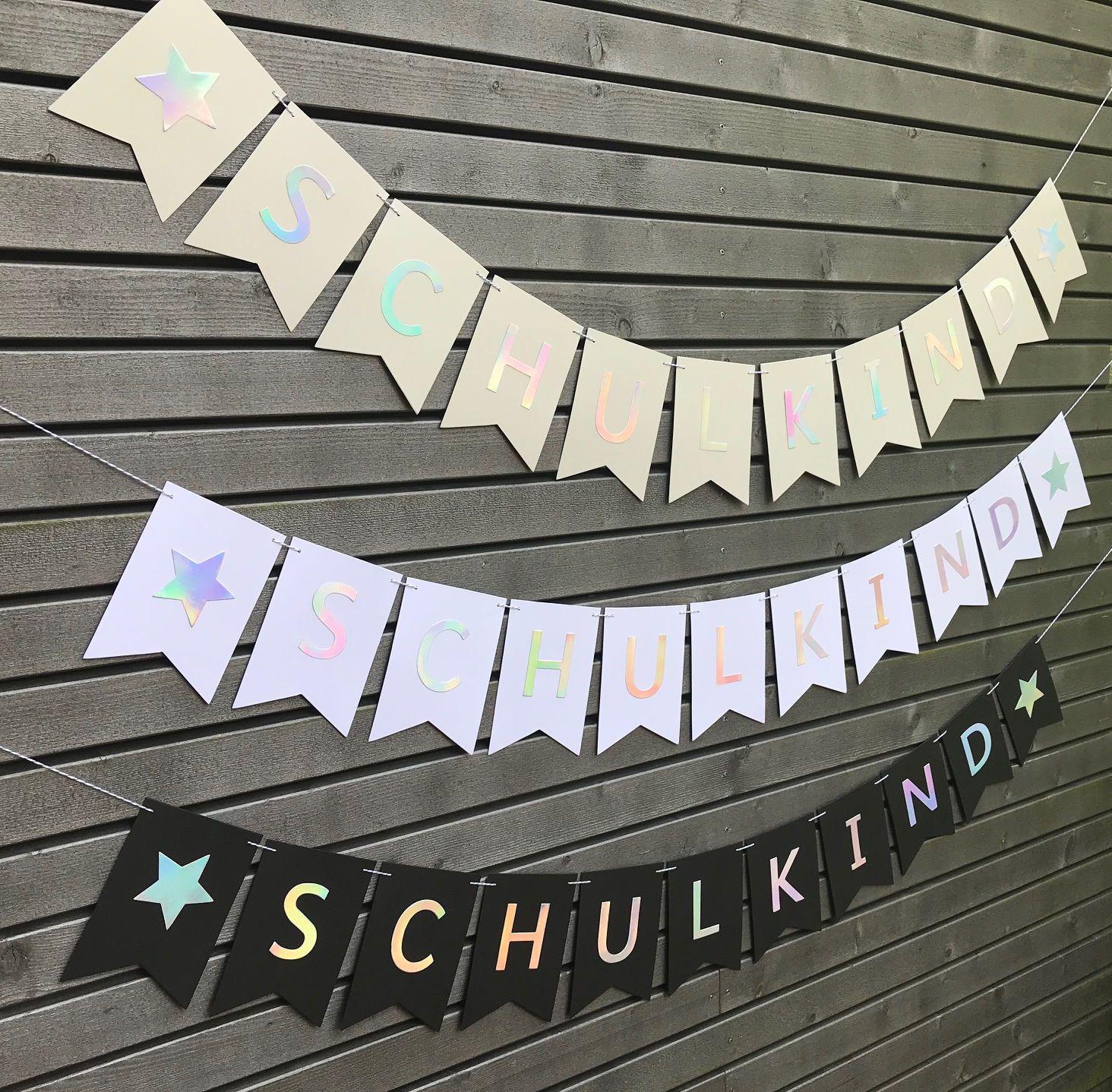 Photo of Monochrome Deko für die Einschulung | Schulkind Girlande im minimalistischen Design