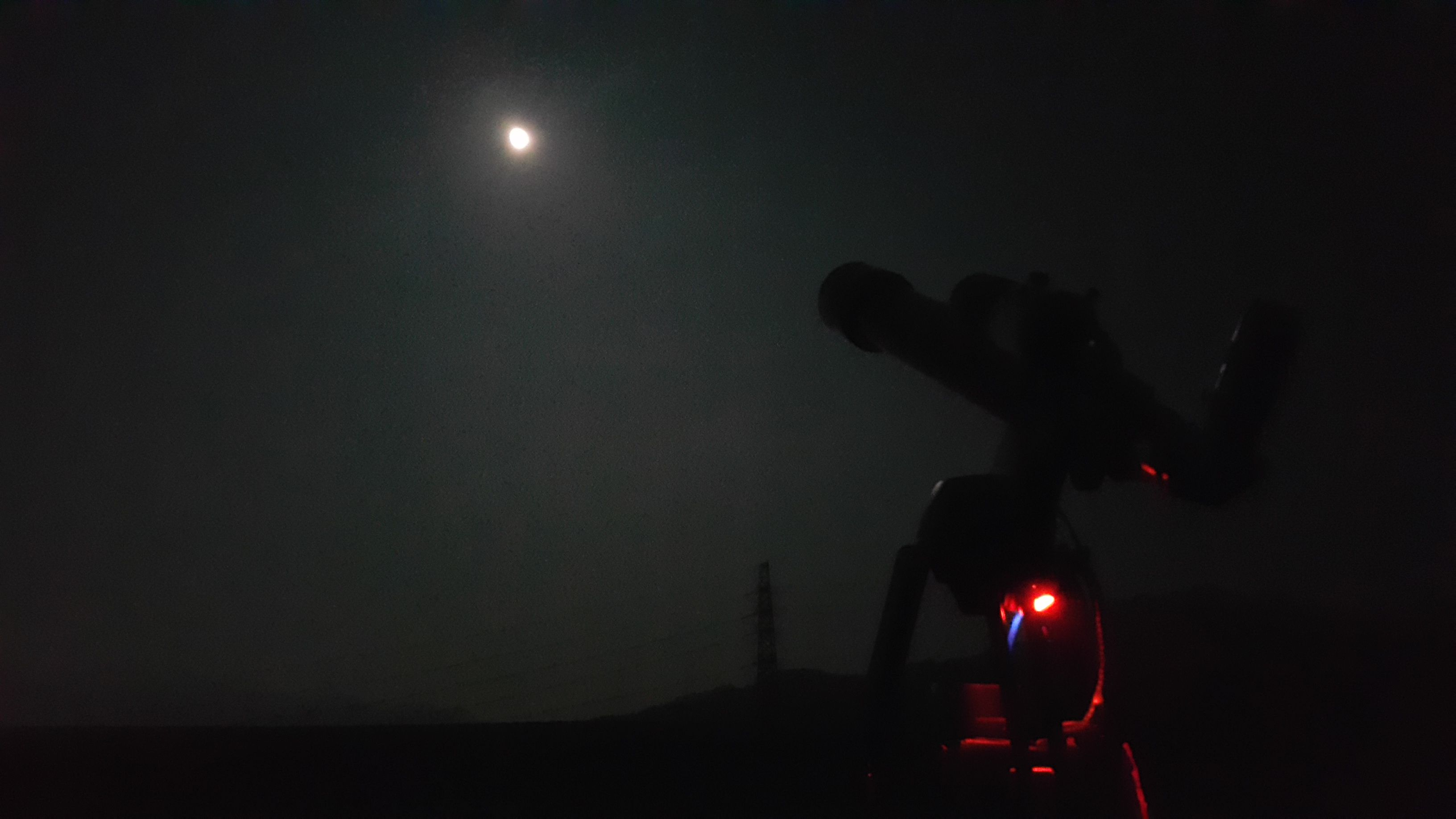 Night View. (Moon & Telescope)  My home rooftop. Wonju. KOREA