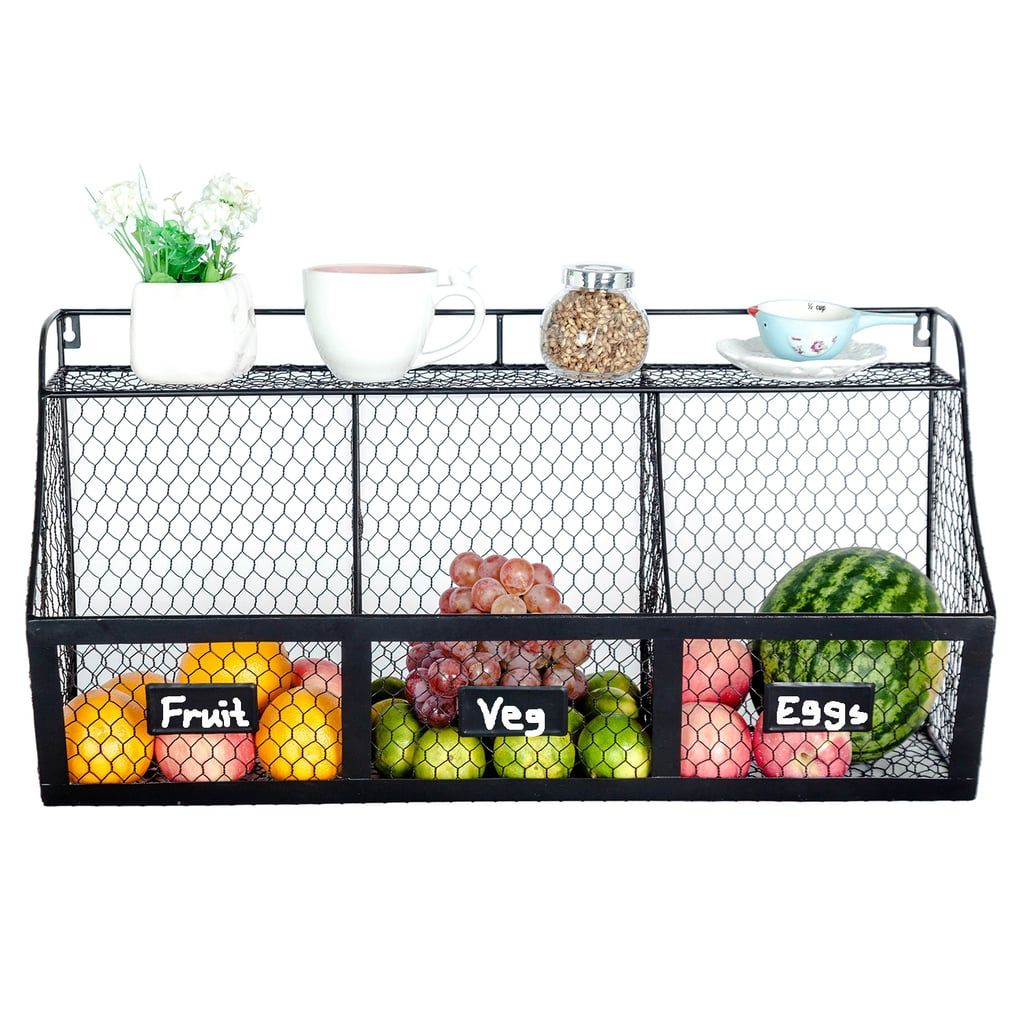 3 Compartment Wall Mount Metal Storage Basket With Images Hanging Fruit Baskets Produce Baskets Large Baskets
