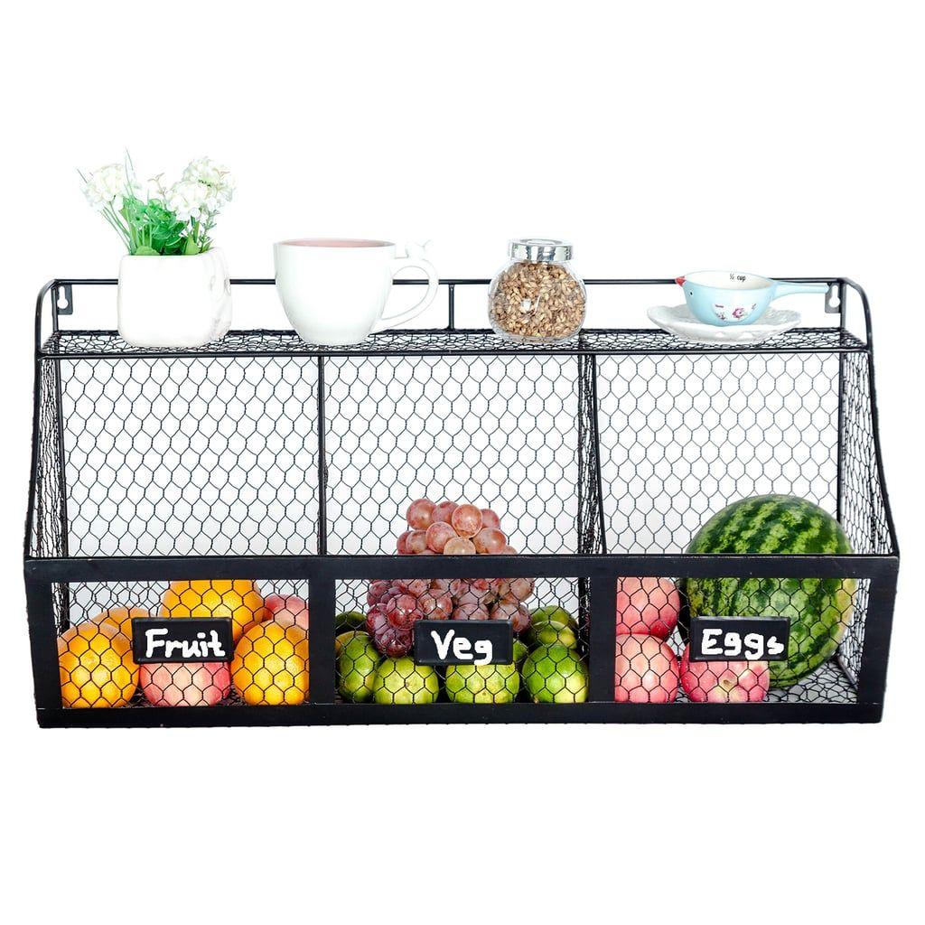 3 Compartment Wall Mount Metal Storage Basket Hanging Fruit Baskets Produce Baskets Kitchen Basket Storage