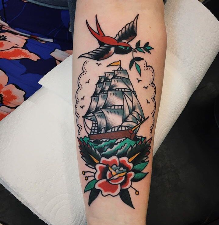 Traditional ship tattoo by Liam at Family Business in London